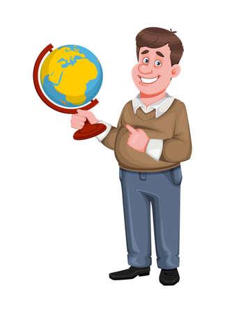 Back to school. Cheerful male teacher holds globe. Handsome teacher cartoon character. Vector illustration isolated on white background 向量圖像
