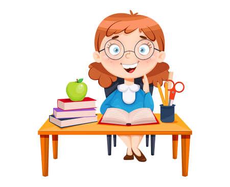 Back to school. Cute schoolgirl sitting at the desk. Funny girl cartoon character. Vector illustration 向量圖像