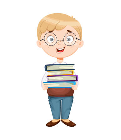 Back to school. Cute schoolboy holds books. Funny boy cartoon character. Vector illustration, usable for landing page, website etc. 向量圖像