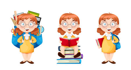 Back to school. Cute schoolgirl, set of three poses. Funny girl cartoon character. Vector illustration on white background