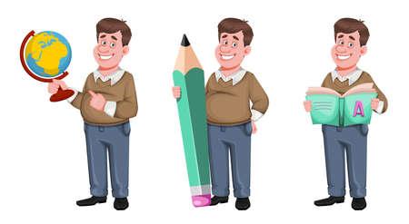 Back to school. Cheerful male teacher, set of three poses. Handsome teacher cartoon character. Vector illustration