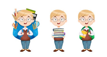 Back to school. Cute schoolboy, set of three poses. Funny boy cartoon character. Vector illustration on white background 向量圖像