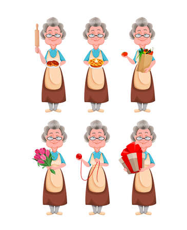Happy Grandparents day, set of six poses. Cute smiling old woman. Cheerful grandmother cartoon character. Vector illustration