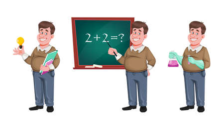 Back to school. Cheerful male teacher, set of three poses. Handsome teacher cartoon character. Vector illustration isolated on white background