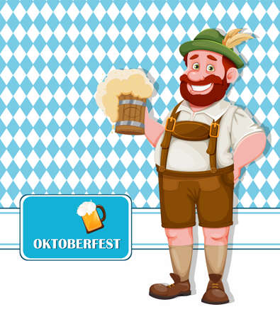 Oktoberfest flyer. Man in Bavarian clothes holding fresh beer, funny cartoon character. Munich beer festival Oktoberfest. Vector illustration on bright blue background 向量圖像