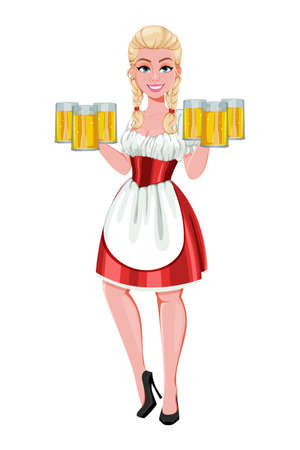 German girl in traditional costume on Oktoberfest. Beautiful lady cartoon character holding six glasses of beer. Vector illustration on white background 向量圖像