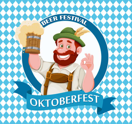 Man in Bavarian clothes, funny cartoon character. Munich beer festival Oktoberfest. Vector illustration on bright blue background