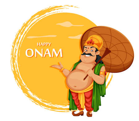 Happy Onam festival in Kerala. Onam celebration, traditional Indian holiday. King Mahabali with umbrella. Vector illustration