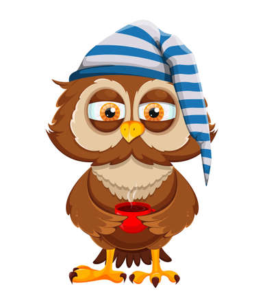 Cute sleepy owl holding a cup of coffee. Funny owl cartoon character. Vector illustration on white background Ilustración de vector