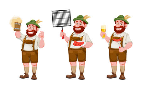 Man in Bavarian clothes, funny cartoon character, set of three poses. Munich beer festival Oktoberfest. Vector illustration on white background
