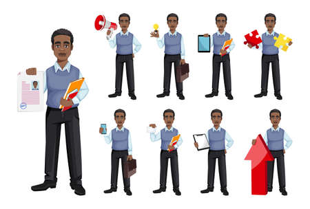 African American business man, set of nine poses. Cheerful handsome businessman cartoon character. Vector illustration
