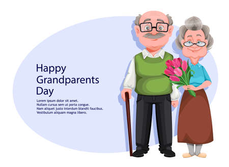 Happy Grandparents day greeting card. Cute smiling old woman and handsome aged man. Cheerful grandmother and grandfather cartoon characters. Vector illustration Illustration
