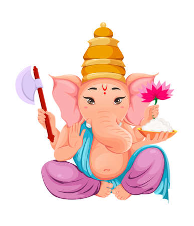 Lord Ganesha. Ganpati idol in traditional Indian clothes for Ganesha Chaturthi holiday. Vector illustration isolated on white
