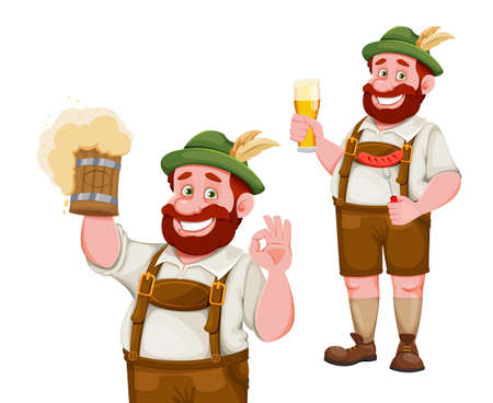 Man in Bavarian clothes, funny cartoon character, set of two poses. Munich beer festival Oktoberfest. Vector illustration on white background 向量圖像