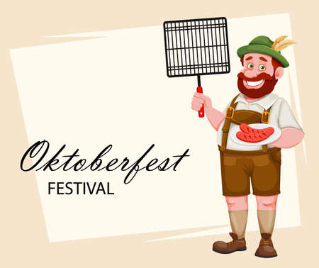 Oktoberfest greeting card. Man in Bavarian clothes holding barbeque grid and fried sausage, funny cartoon character. Munich beer festival Oktoberfest. Vector illustration 向量圖像