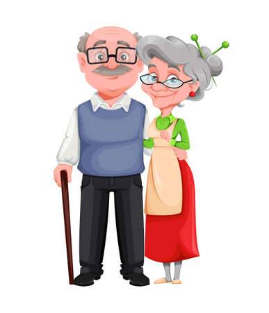 Happy Grandparents day. Cheerful grandmother and grandfather cartoon characters. Grandma and grandpa standing together. Vector illustration on white background