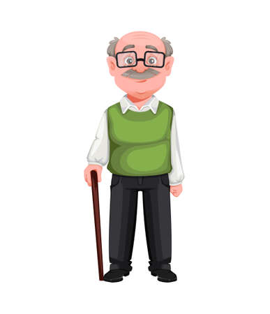 Happy Grandparents day. Handsome smiling old man. Cheerful grandfather cartoon character. Vector illustration on white background