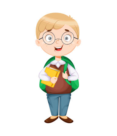 Back to school. Cute schoolboy with backpack and book. Funny boy cartoon character. Vector illustration, usable for landing page, website etc.