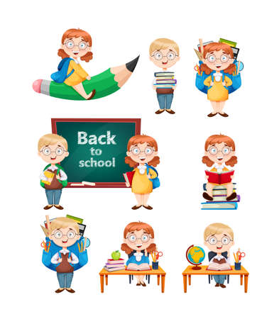 Back to school. Cute schoolgirl and schoolboy, set of nine poses. Cheerful girl and boy cartoon characters. Vector illustration on white background