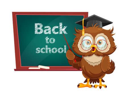 Cute wise owl standing near blackboard. Funny owl cartoon character, back to school concept. Vector illustration on white background
