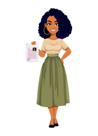 Beautiful African American business woman holding resume. Cute African-American businesswoman cartoon character. Vector illustration on white background