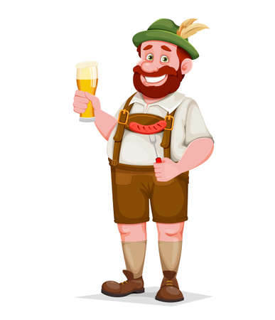 Man in Bavarian clothes holding beer and fried sausage, funny cartoon character. Munich beer festival Oktoberfest. Vector illustration Illustration