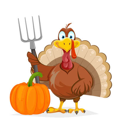 Happy Thanksgiving Day. Funny Thanksgiving Turkey bird standing close to pumpkin and holding pitchfork. Vector illustration on white background