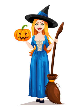 Happy Halloween. Beautiful witch cartoon character holding broomstick and pumpkin. Vector illustration on white background