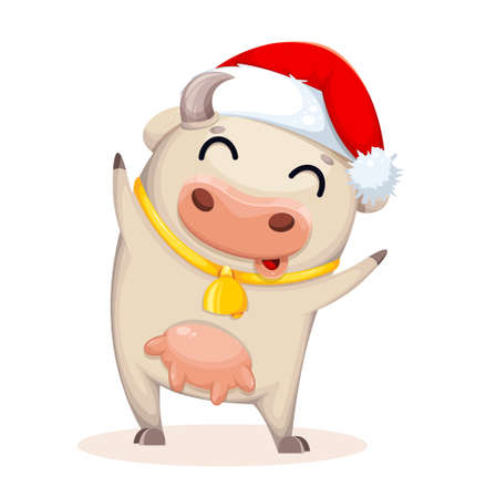 Cute cow cartoon character. Chinese New Year. Year of Bull 2021. Vector illustration Stock Illustratie