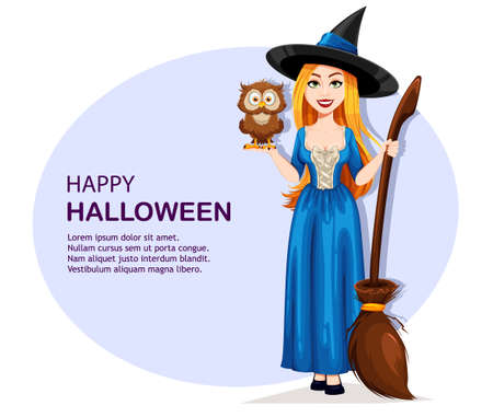Happy Halloween greeting card. Beautiful witch cartoon character holding owl. Vector illustration