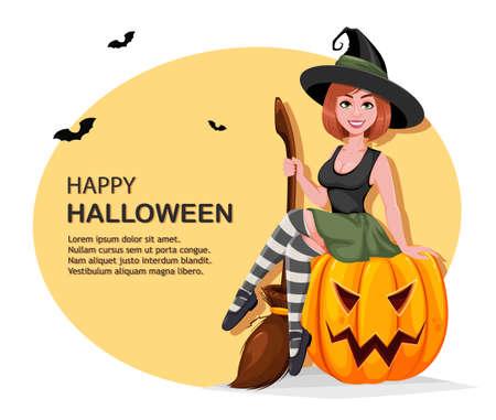 Happy Halloween greeting card. Beautiful witch cartoon character sitting on pumpkin. Vector illustration Stock Illustratie