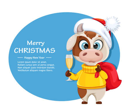 Merry Christmas greeting card with funny bull holding sack with presents and a glass of champagne. Cute bull cartoon character in sweater, the symbol of Chinese New Year 2021. Vector illustration Stock Illustratie
