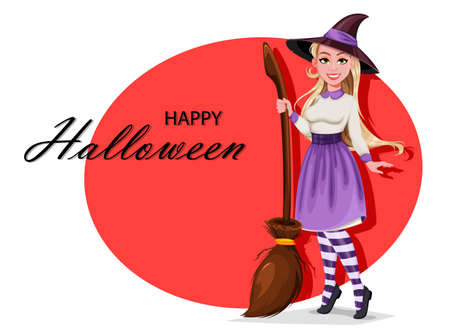 Happy Halloween greeting card. Beautiful witch cartoon character holding broomstick. Vector illustration