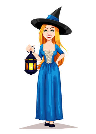 Happy Halloween. Beautiful witch cartoon character holding lantern. Vector illustration on white background
