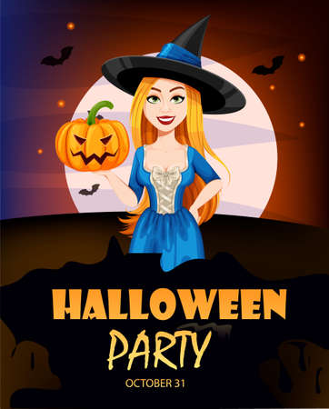 Happy Halloween party invitation. Beautiful witch cartoon character. Vector illustration