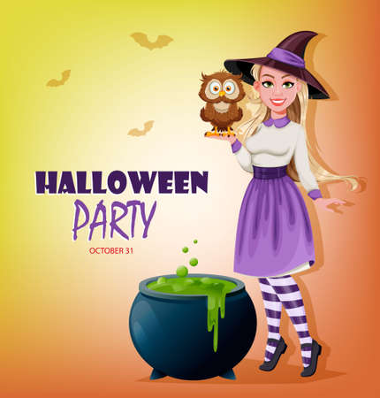 Happy Halloween party invitation. Beautiful witch cartoon character holding cute owl and standing near cauldron with potion. Vector illustration