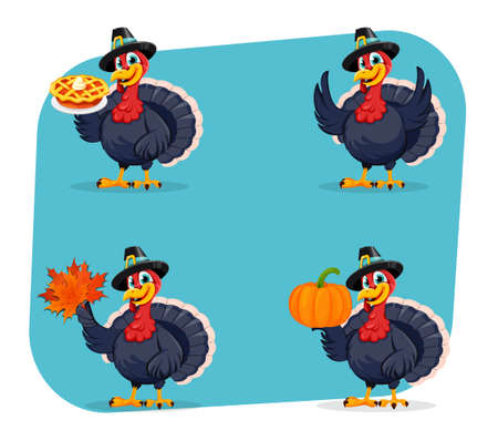 Happy Thanksgiving Day. Funny Thanksgiving Turkey bird cartoon character, set of four poses. Vector illustration Stock Illustratie
