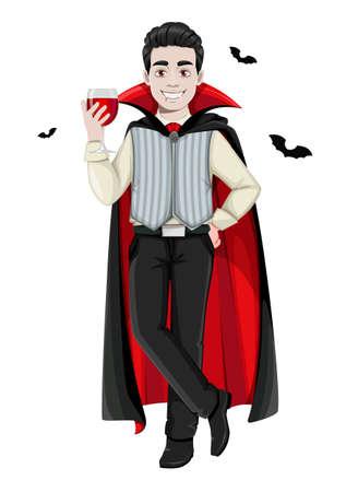 Happy Halloween. Cheerful vampire cartoon character. Vector illustration on white background Stock Illustratie