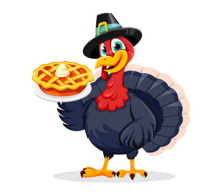 Happy Thanksgiving Day. Funny Thanksgiving Turkey bird cartoon character holding sweet pumpkin pie. Vector illustration on white background Stock Illustratie