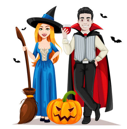 Happy Halloween. Cheerful vampire and beautiful witch cartoon characters. Vector illustration on white background Stock Illustratie