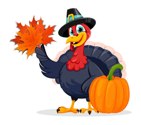 Happy Thanksgiving Day. Funny Thanksgiving Turkey bird cartoon character standing near pumpkin and holding maple leaves. Vector illustration on white background Stock Illustratie