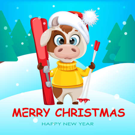 Merry Christmas greeting card with funny bull holding skis. Cute bull cartoon character in sweater, the symbol of Chinese New Year 2021. Vector illustration Stock Illustratie