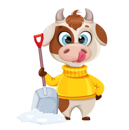 Funny bull holding snow shovel. Cute bull cartoon character in sweater, the symbol of Chinese New Year 2021. Usable for Christmas. Vector illustration Stock Illustratie