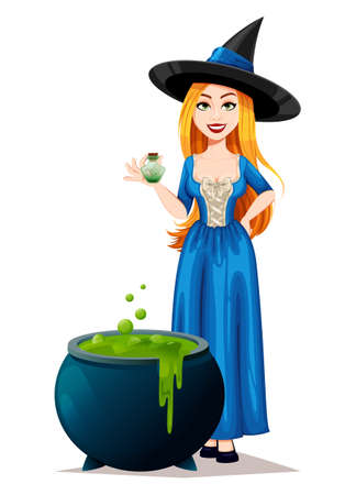 Happy Halloween. Beautiful witch cartoon character preparing potion. Vector illustration on white background Stock Illustratie