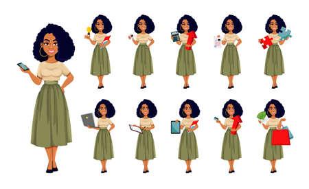 Beautiful African American business woman, set of eleven poses. Cute African-American businesswoman cartoon character. Vector illustration