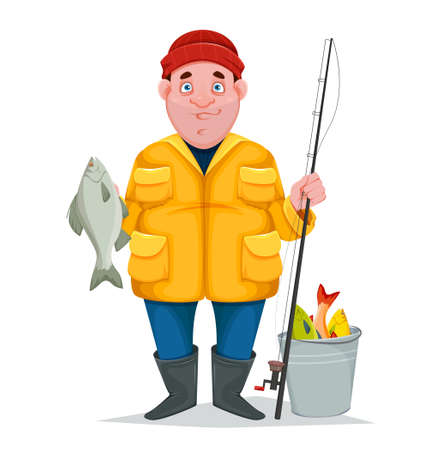 Fisherman with caught fish, funny cartoon character. Vector illustration isolated on white background