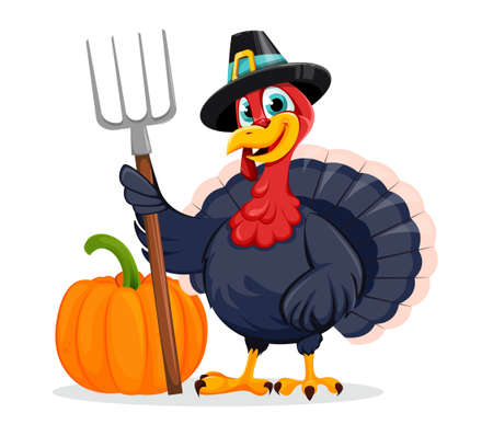 Happy Thanksgiving Day. Funny Thanksgiving Turkey bird cartoon character standing near pumpkin and holding pitchfork. Vector illustration on white background