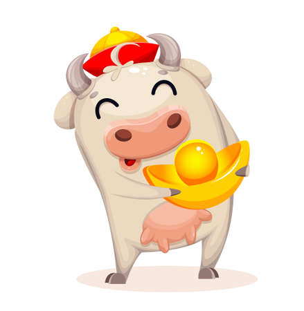 Cute cow cartoon character. Chinese New Year. Year of Bull 2021. Vector illustration on white background Stock Illustratie