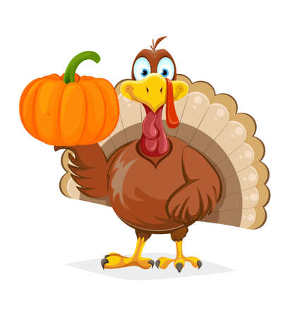 Happy Thanksgiving Day. Funny Thanksgiving Turkey bird holding pumpkin on one wing. Vector illustration on white background Stock Illustratie