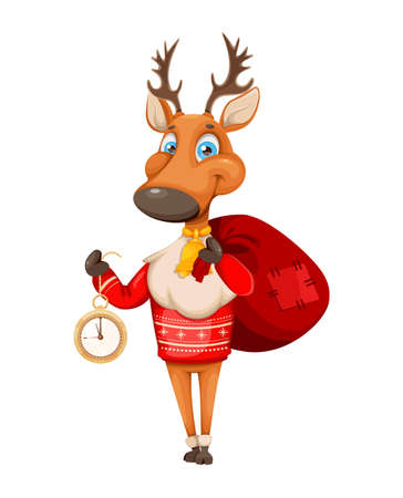 Merry Christmas and Happy New Year. Cute deer cartoon character in warm sweater holding clock. Vector illustration on white background Stock Illustratie